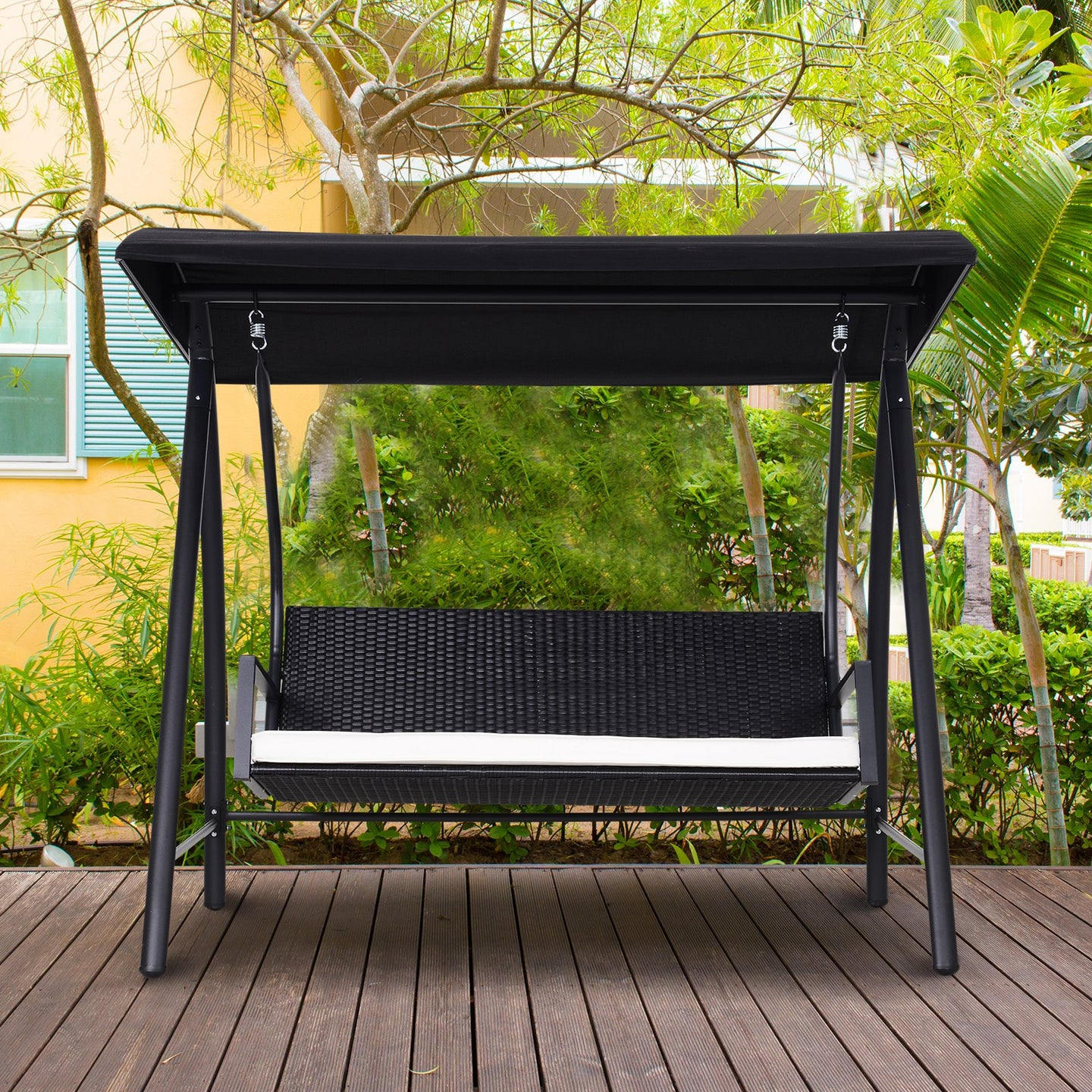 Outsunny 3-Seater Rattan Garden Swing Chair-Black