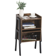 Load image into Gallery viewer, HOMCOM Set Of 2 Industrial Stacking Side Tables Stacking Duo w/Compartment Shelf Steel Frame Stylish Unique End Bed Tables Home Furniture