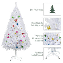 Load image into Gallery viewer, HOMCOM 6ft Snow Artificial Christmas Tree w/Metal Stand Decorations Home Seasonal Elegant Faux