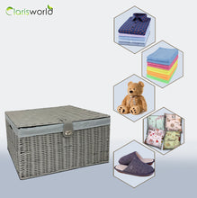 Load image into Gallery viewer, Clarisworld Resin Woven Hamper Basket Storage Chest Trunk Hamper/Kids Toy with Lid, Lock and Removable Lining, Grey W49 x D35 x H22cm