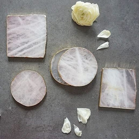 Set of 2 Mini Pink Agate Coaster
