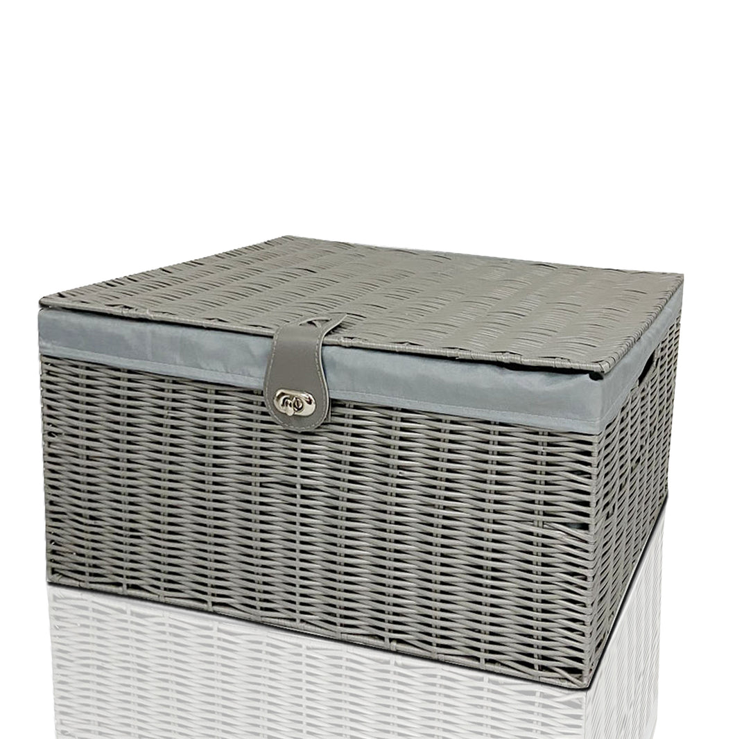 Clarisworld Resin Woven Hamper Basket Storage Chest Trunk Hamper/Kids Toy with Lid, Lock and Removable Lining, Grey W49 x D35 x H22cm
