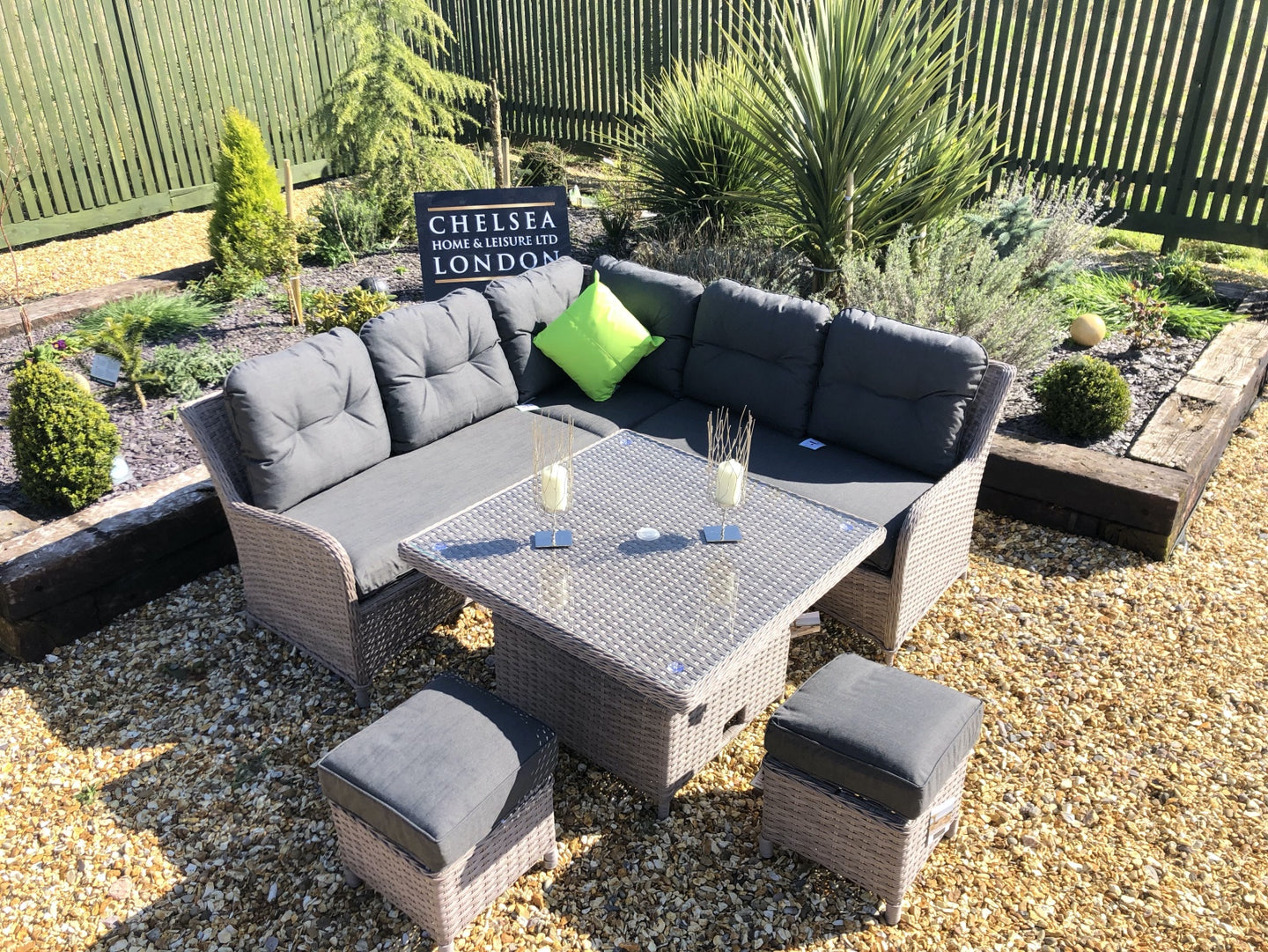 Rattan Garden Furniture Grey Sofa Dining Set With Adjustable Table