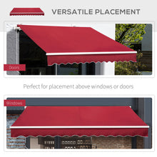Load image into Gallery viewer, Outsunny 4x2.5m Retractable Manual Awning Window Door Sun Shade Canopy with Fittings and Crank Handle Wine Red