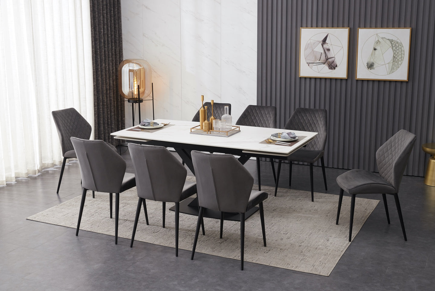 ceramic dining table white with 8 grey chairs