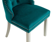 Load image into Gallery viewer, Ashford Dining Chair in Teal Velvet with Square Knocker And Grey Legs