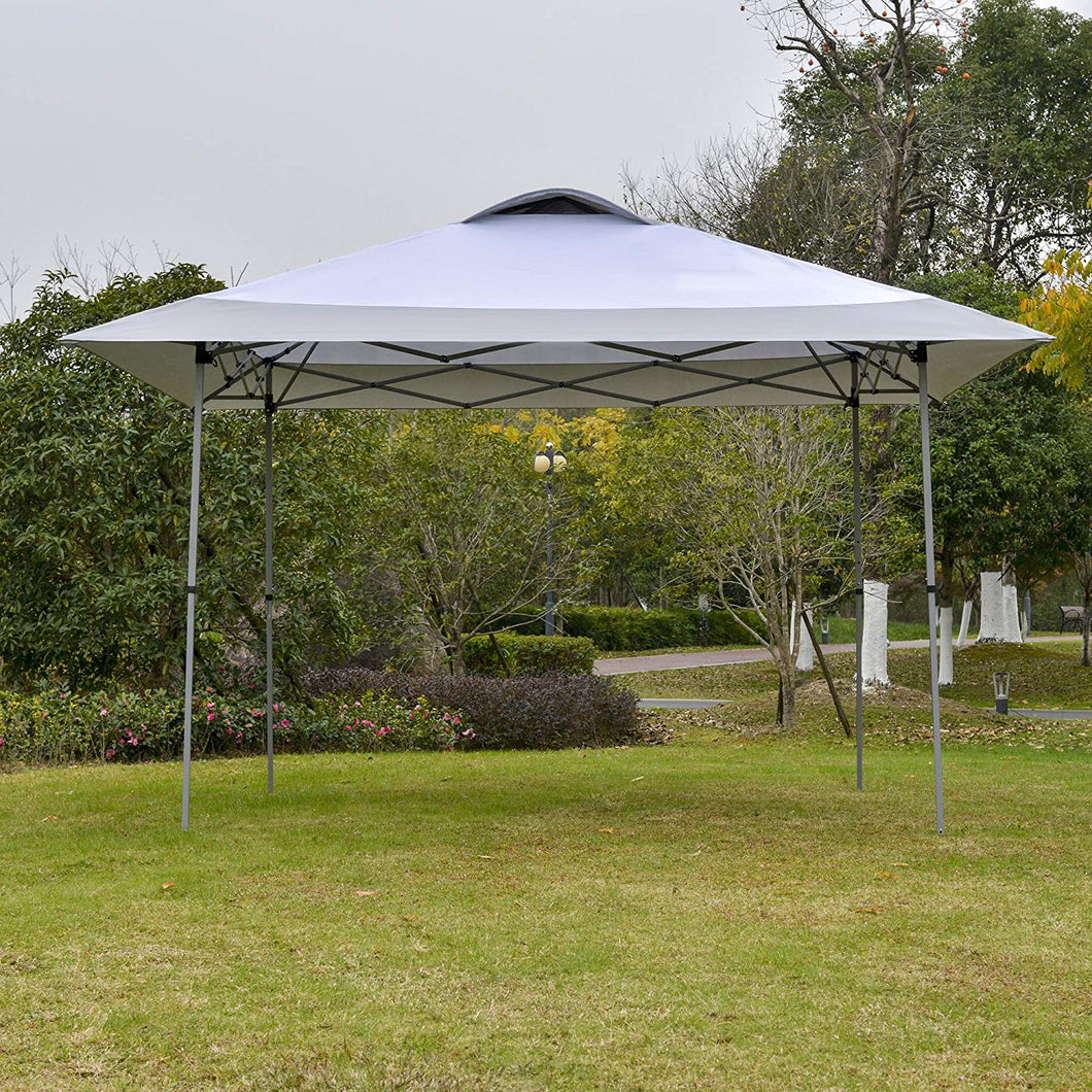 Outsunny 4 x 4m Pop-up Canopy Gazebo Tent with Roller Bag & Adjustable Legs Outdoor Party, Steel Frame