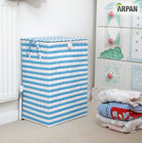 Arpan Washing Baskets for Laundry Plastic bin Hamper Storage Basket Blue - White Nautical Design 44 litres Capacity Light Weight