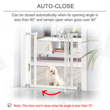Load image into Gallery viewer, PawHut Pet Safety Metal Auto Close Pressure Fitted Gate Barrier for Little Pet Protector Home Doorway Corridors Room Divider Stair White