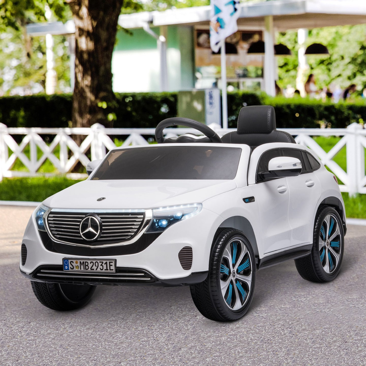 HOMCOM Compatible 12V Battery-powered Kids Electric Ride On Car Benz EQC Toy with Parental Remote Control Music Bluetooth Suspension Wheels White