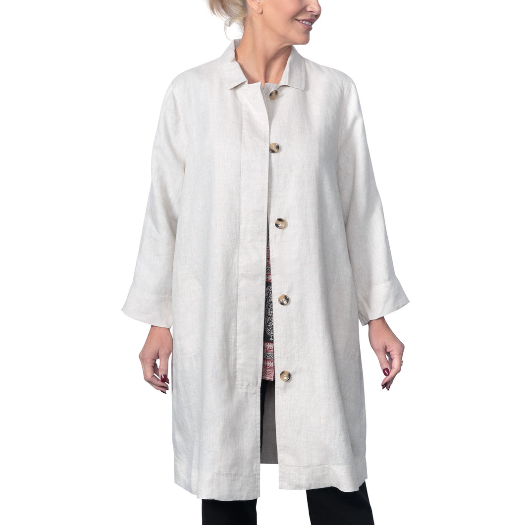 East Linen Long Line Coat