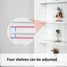 Load image into Gallery viewer, HOMCOM 5-Tier Wall Display Shelf Unit Cabinet w/ 4 Adjustable Shelves Glass Doors Home Office Ornaments 60x80cm White