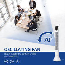 Load image into Gallery viewer, HOMCOM Freestanding Tower Fan, 3 Speed 3 Mode, 7.5h Timer, 70 Degree Oscillation, LED Panel, 5M Remote Controller, White