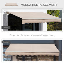 Load image into Gallery viewer, Outsunny 4x2.5m Retractable Manual Awning Window Door Sun Shade Canopy with Fittings and Crank Handle Beige