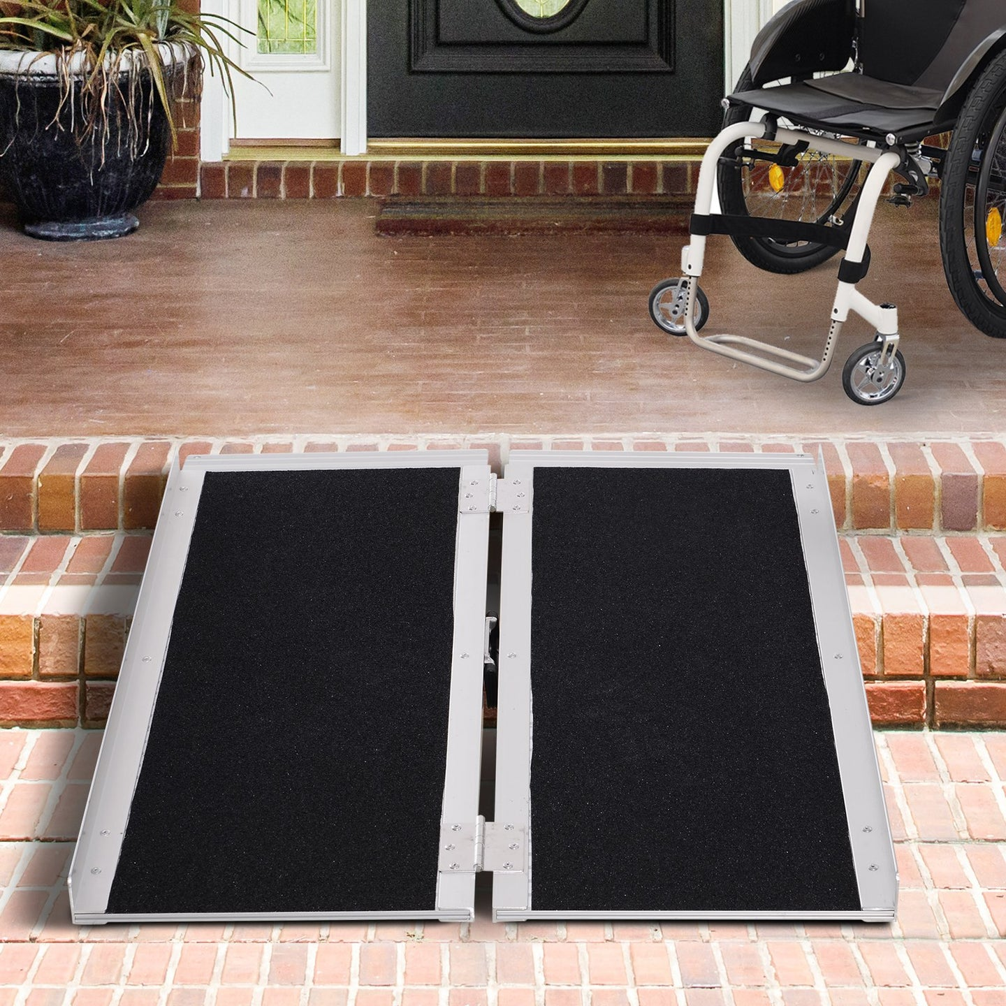 HOMCOM Aluminium Folding Wheelchair Ramp w/ Handle Black