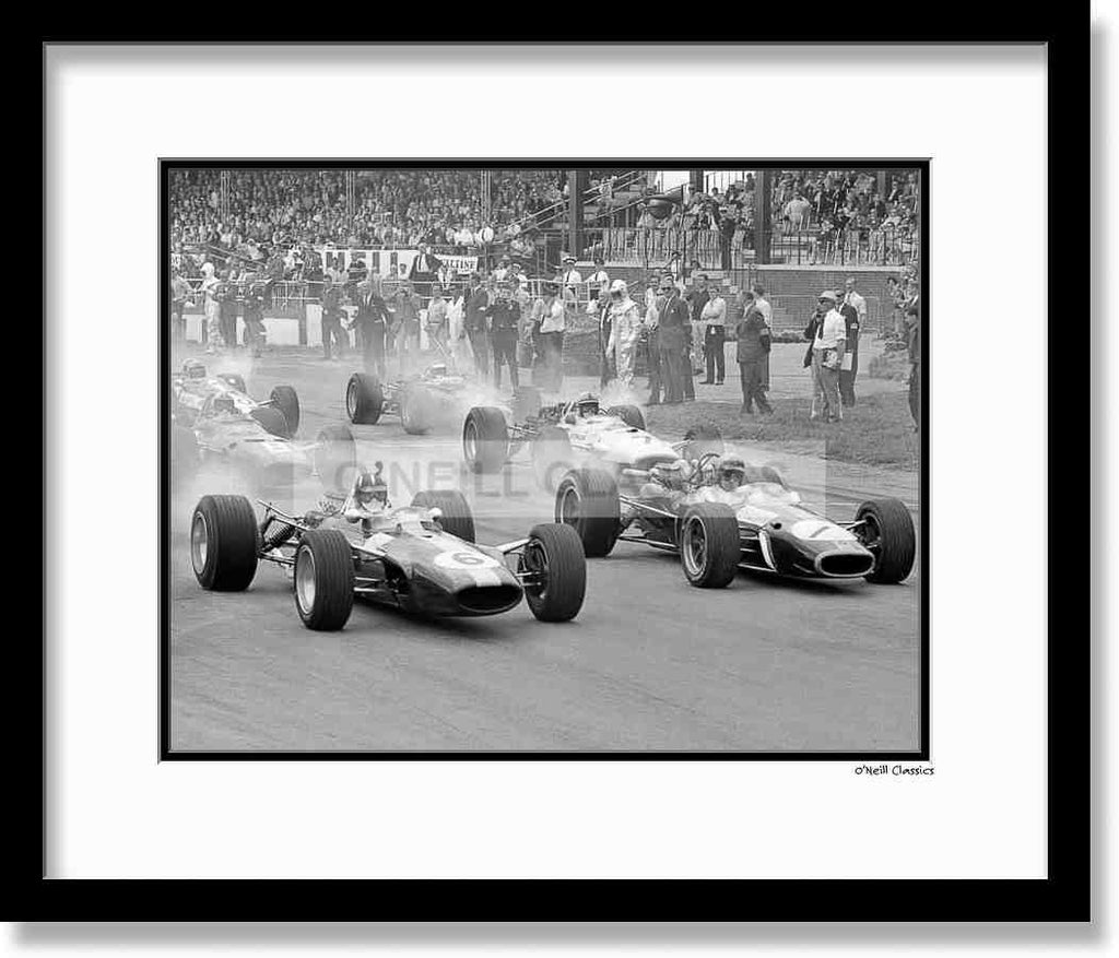 British Grand Prix 1967 - Framed B&W photograph