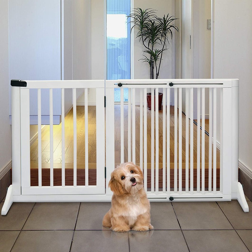 PawHut Adjustable Wooden Pet Gate Freestanding Dog Barrier Fence Doorway 3 Panels Safety Gate w/Lockable Door White 71H x 113-166W cm
