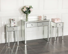 Load image into Gallery viewer, Monroe Silver Mirrored Console Table Set with 2 x 1 Drawer Bedside Tables