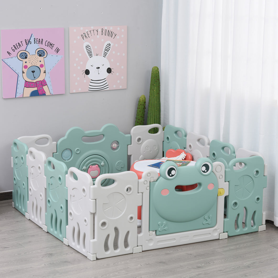 HOMCOM Baby Playpen 14 Panel Safety Gate Kids Activity Center Fence Frog Shape for Home Indoor Mom??s Helper w/ Toys HDPE