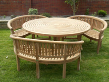 Load image into Gallery viewer, teak garden furniture round table 3 Banana Benches With Lazy Susan