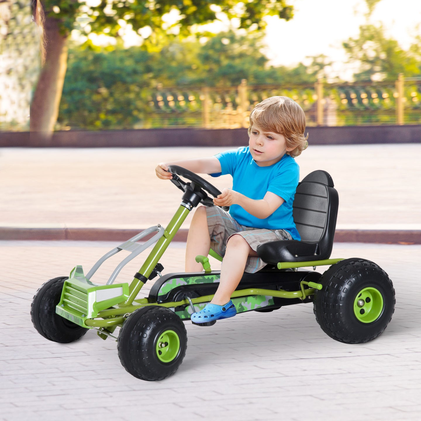 HOMCOM Kids Children Pedal Go Kart Ride on Car Adjustable Seat Braking System Ensure Safe Children Toy Gift - Green