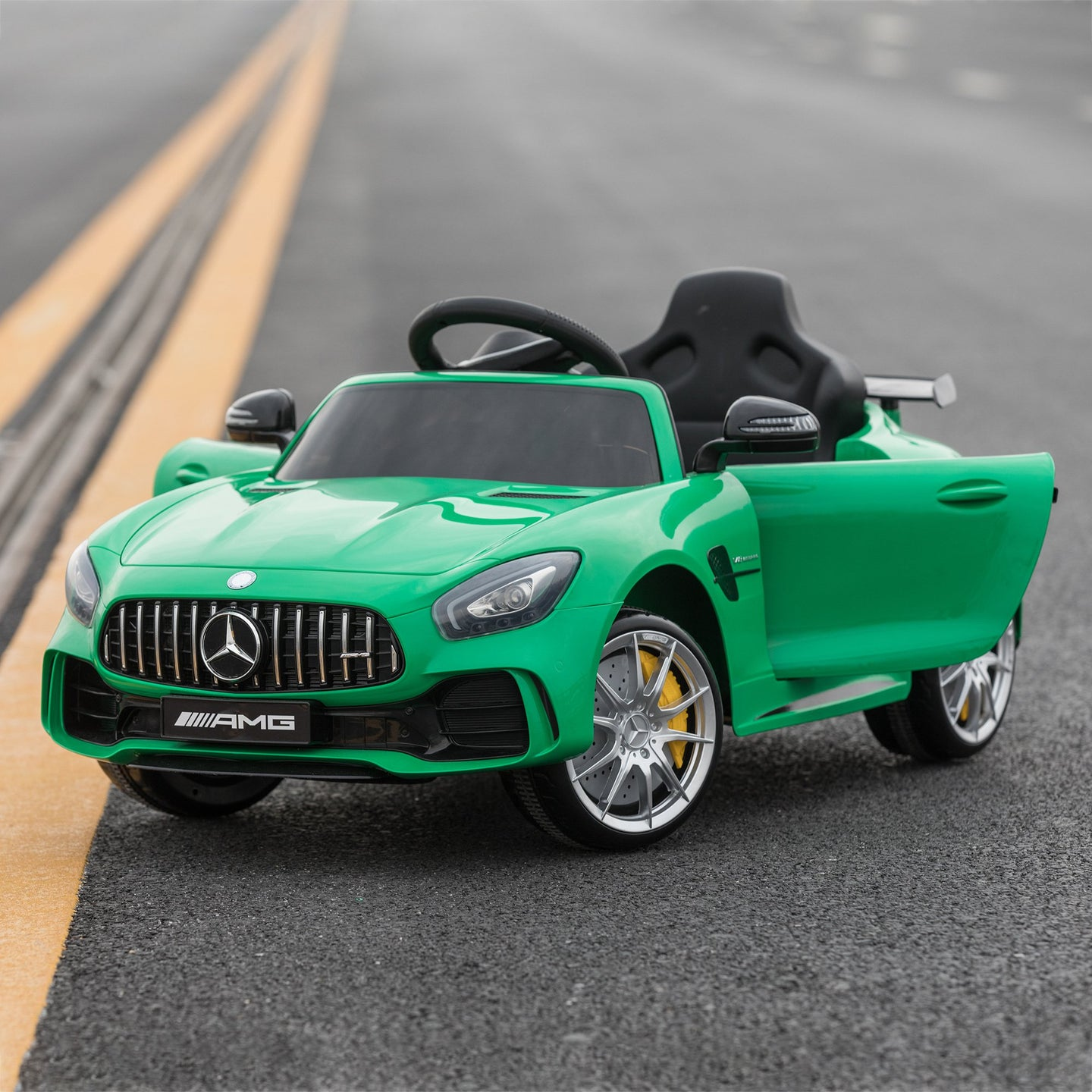 HOMCOM Compatible 12V Battery-powered Kids Electric Ride On Car Benz GTR Toy with Parental Remote Control Music Lights MP3 Suspension Wheels Green