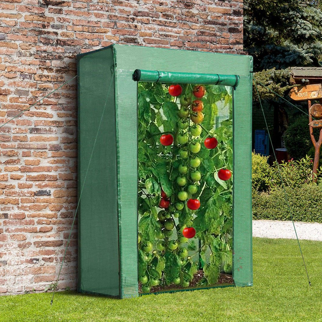 Outsunny Greenhouse Steel Frame PE Cover with Roll-up Door Outdoor for Backyard, Balcony, Garden, Green 100x50x150cm