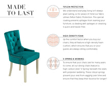 Load image into Gallery viewer, Verona Dining Chair in Teal Velvet with Chrome Knocker and Grey Legs