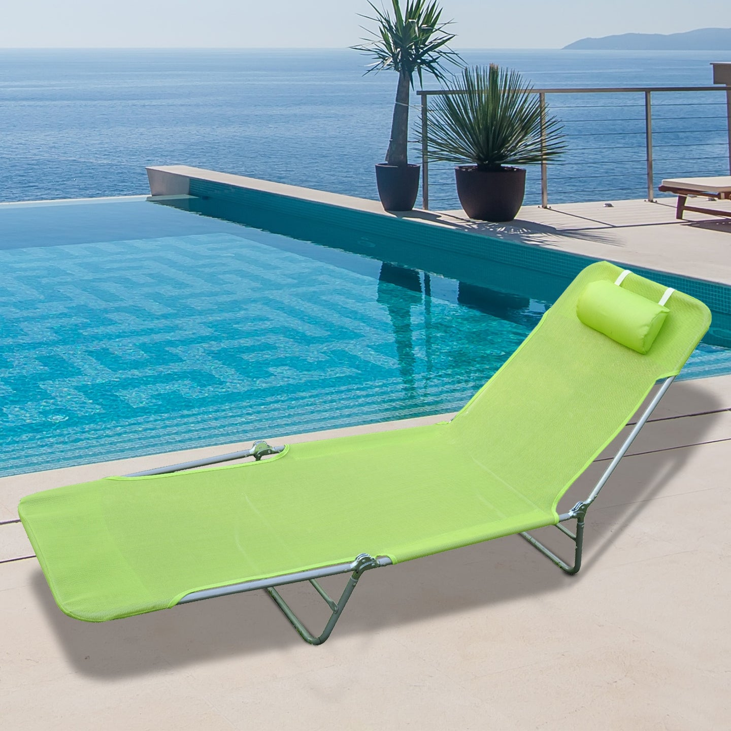 Outsunny Garden Lounger-Lime Green