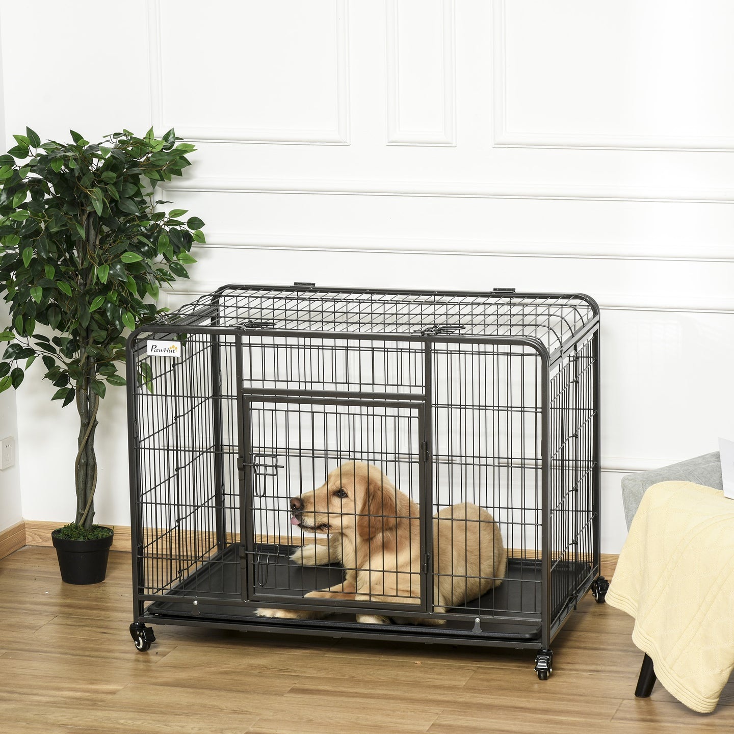 PawHut Heavy Duty Dog Crates Foldable Puppy Kennel and Cage Pet Playpen with Double Doors Removable Tray Lockable Wheels 109.5cm x 71cm x 78cm