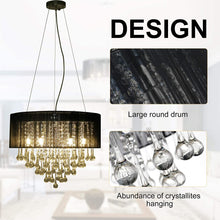 Load image into Gallery viewer, HOMCOM Elegant Modern Crystallite Ceiling Chandelier Light Pendant w/Round Drum Shade 40W Home Lighting Furnishing Black, Ф54 x 40cm