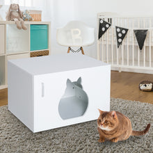 Load image into Gallery viewer, Pawhut Cat Litter Box Bathroom Furniture-White