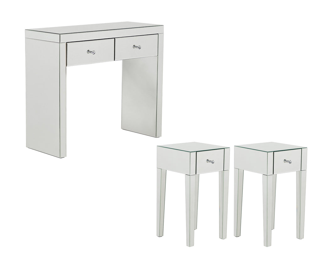 Monroe Silver Mirrored Console Table Set with 2 x 1 Drawer Bedside Tables