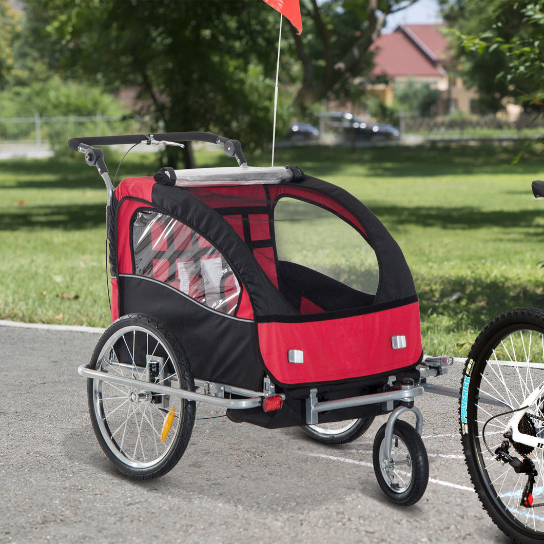 HOMCOM 2 in 1 Child Bike Trailer,2-Seater-Black/Red