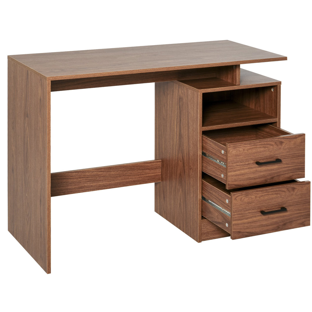 HOMCOM Compact Desk with Shelf, Drawer Writing Table for Home Study, Office, Walnut Wood Color