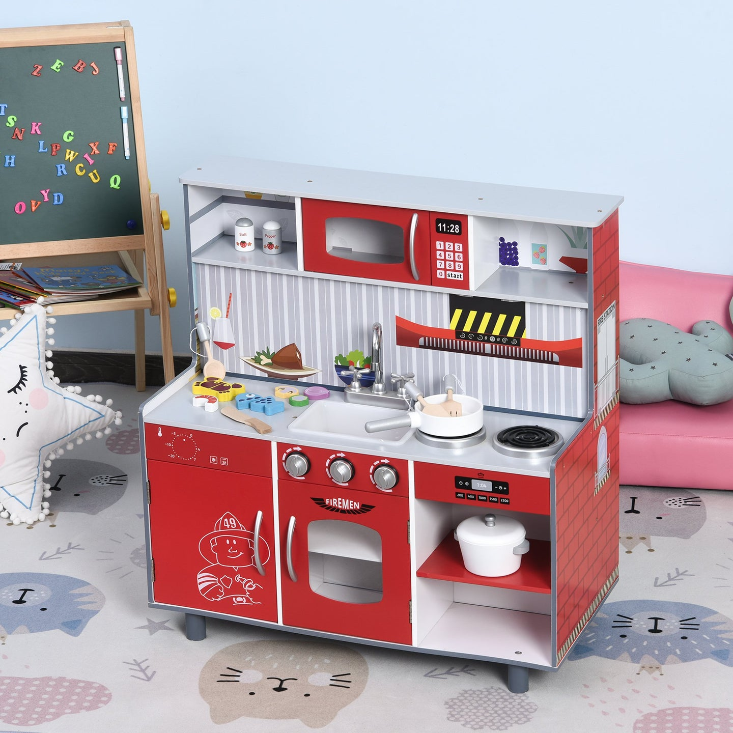 HOMCOM Kids Kitchen Set 2 in 1 Multifuction Kitchen Set Doll House Large Play Kitchen with Realistic Function Pretend Cooking Set Red