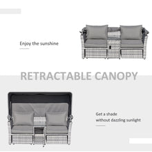 Load image into Gallery viewer, Outsunny 3 Pieces Outdoor PE Rattan Patio Furniture Set Daybed 2-Seater Sofa Footstool Tempered Glass Coffee Table Set with Retractable Canopy