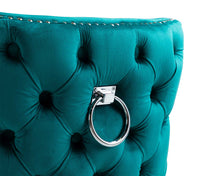 Load image into Gallery viewer, Elizabeth Dining Chair in Teal Velvet with Round Knocker and Grey Legs