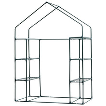 Load image into Gallery viewer, Outsunny Walk in Garden Greenhouse with Shelves Polytunnel Steeple Green house Grow House Removable Cover 143x73x195cm