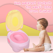 Load image into Gallery viewer, HOMCOM Toddler's Plastic Portable Lift-Top Hippo Toilet Trainer Potty Pink