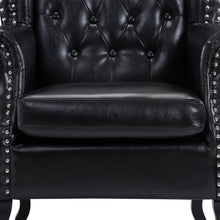 Load image into Gallery viewer, HOMCOM PU Leather Vintage Style High Back Armchair-Black