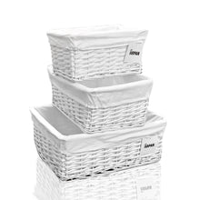 Load image into Gallery viewer, Arpan Set of 3 White Wicker Gift Hamper Storage Basket with White Cloth Lining