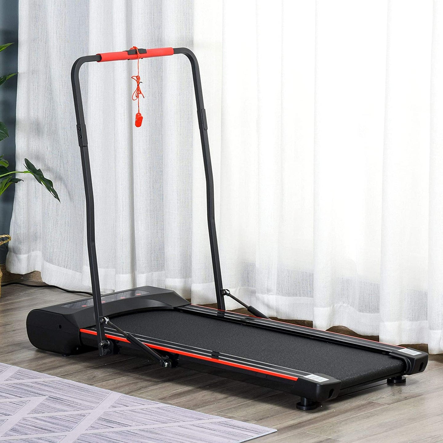 HOMCOM Foldable Walking Machine Treadmill 1-6km/h with LED Display & Remote Control Exercise Fitness for Home Office