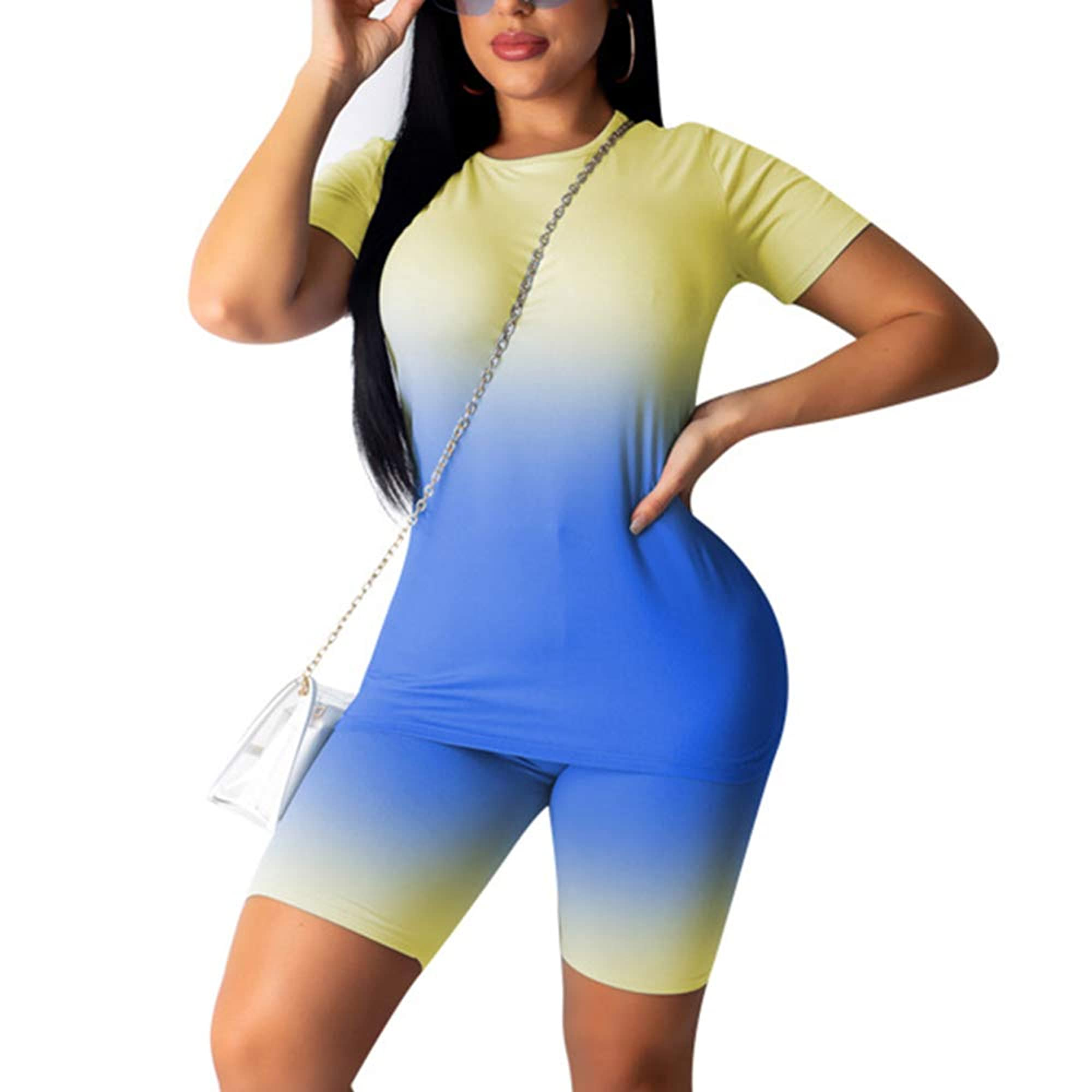 Women's Two-Piece Sports Outfit Tracksuit Short And T-Shirt