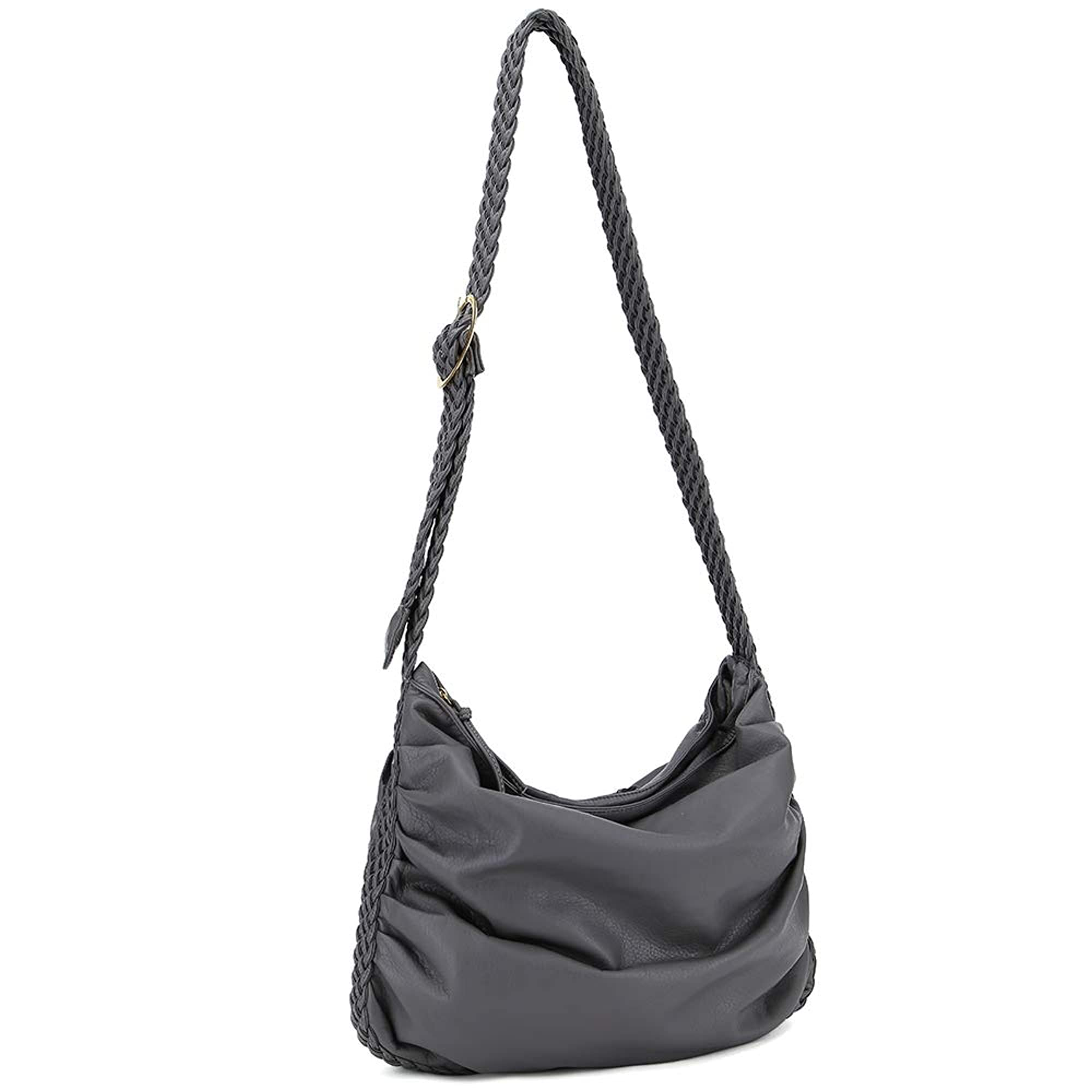 Vegan Leather Ruched Hobo And Shoulder Bag