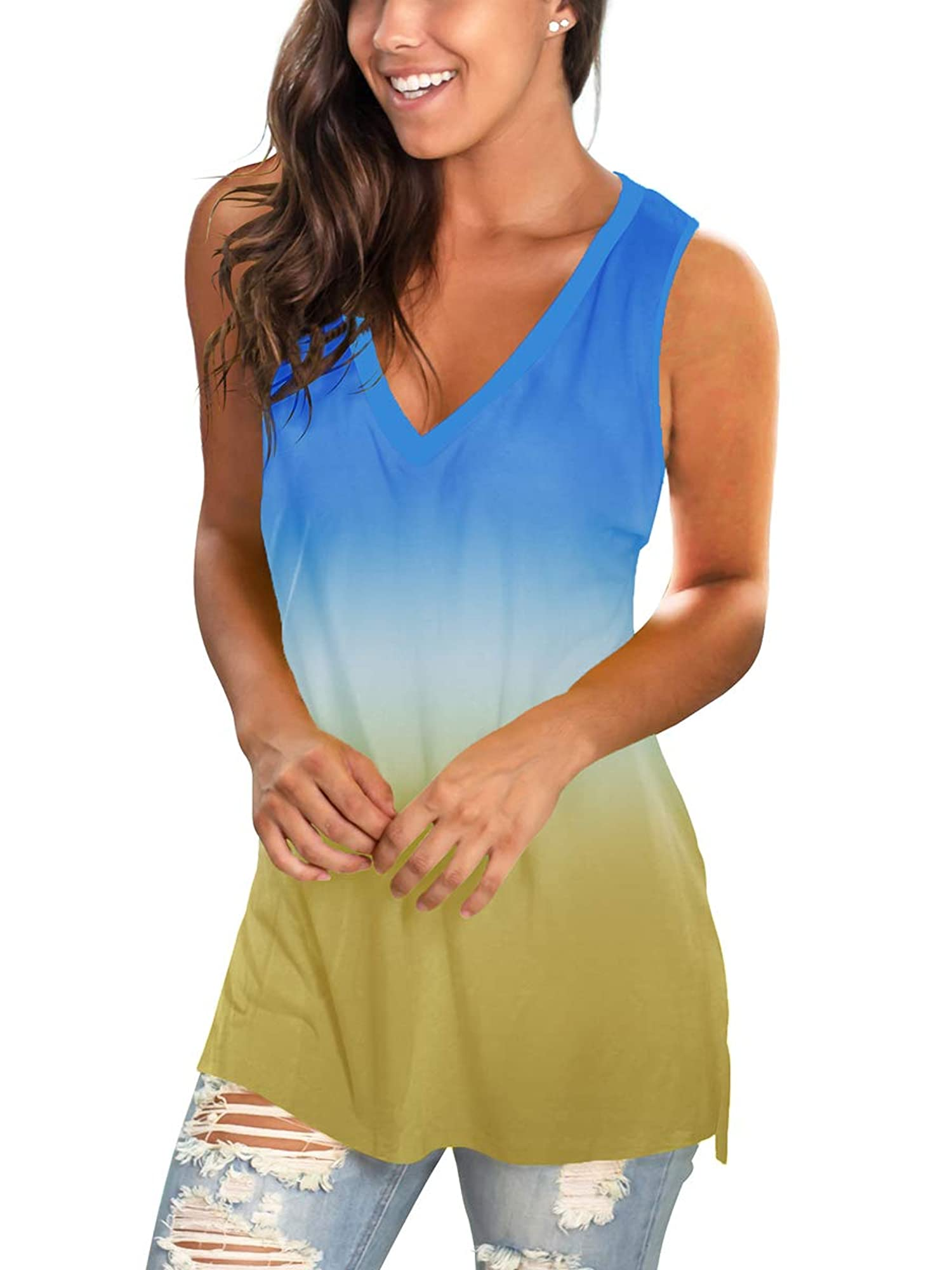 Basic V Neck Side Split Tunic Tops