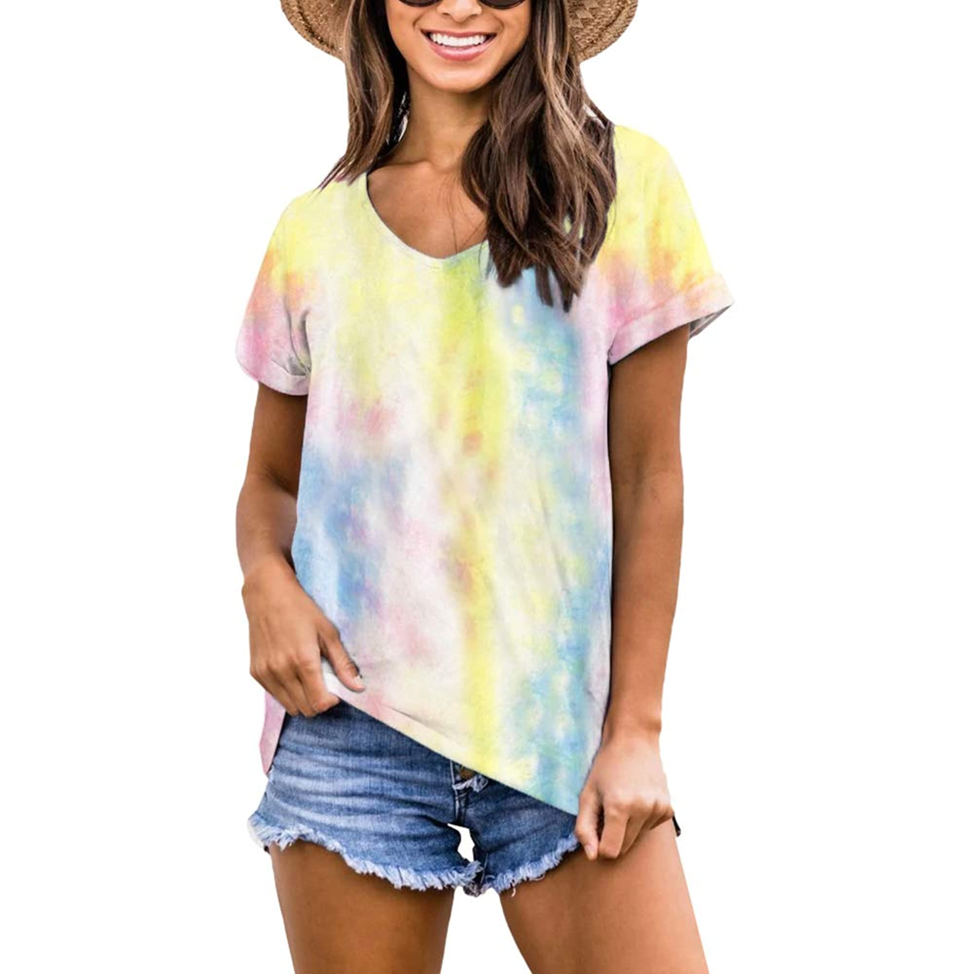 Short-Sleeve V-Neck Casual Tees For Women