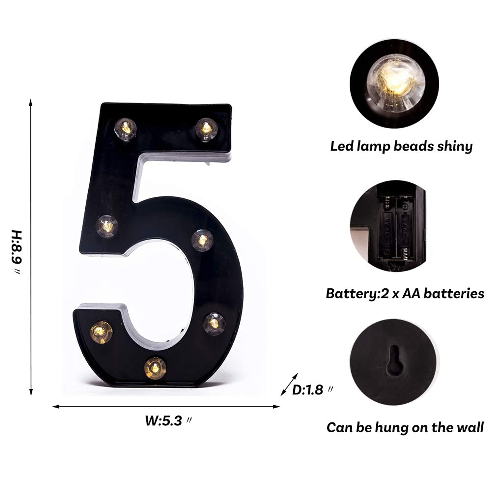 Alphabets And Numbers Black Marquee Light