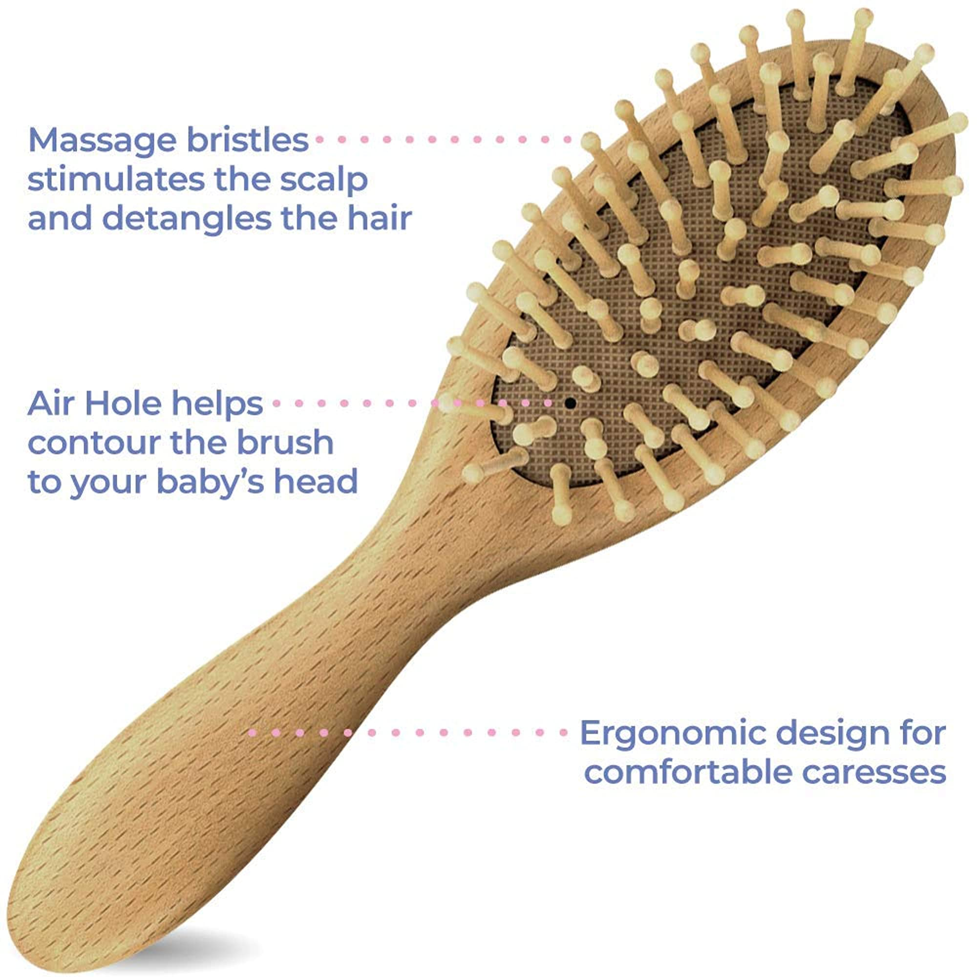 3 Pieces Wooden Hairbrush Set For Babies