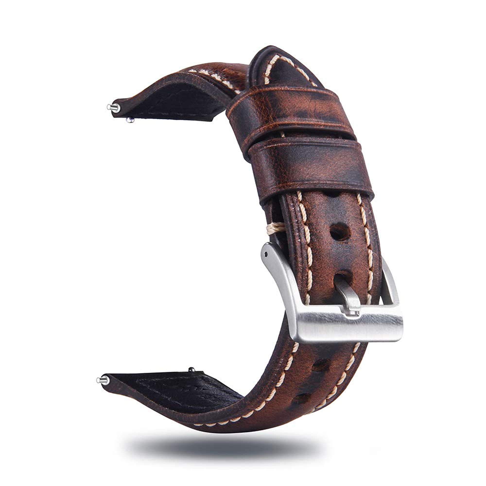 Quick Release Retro Leather Watch Band